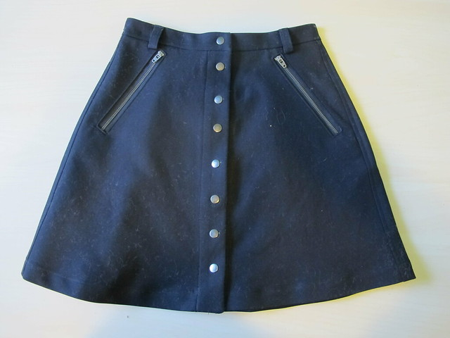 Black Stretch Twill Rosari Skirt