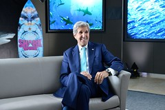 Secretary Kerry Prepares for His Interview With Shark Finbassador Sean Lesniak About Ocean Conservation at Discovery's Headquarters in Maryland
