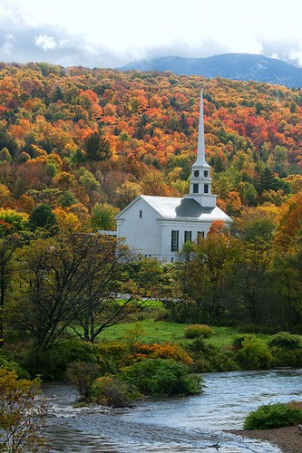 autumn trees mountains fall church water colors clouds stream vermont village newengland foliage brook stowe vt stowevermont whitechurch whitesteeple stowevillage
