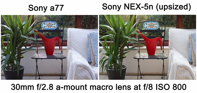 Noise comparison test between Sony a77 and Sony NEX-5n ISO800