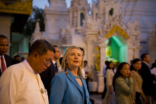 Secretary of State Hillary Clinton visits Shwedagon Pagoda in Rangoon during her historic visit to Burma. [State Department photo by Kay Itoi]
