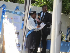 Student Celine Toussaint addresses her peers at the beginning of the graduation ceremony.