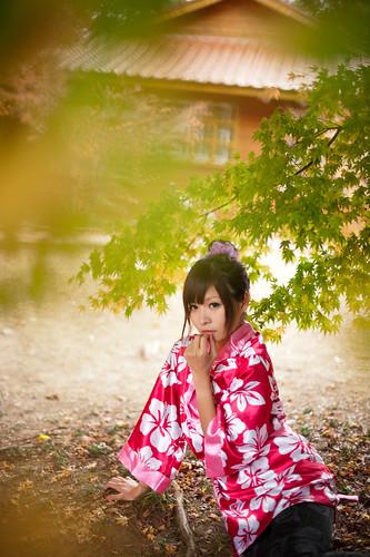 無料写真素材, 人物, 女性  アジア, 和服・着物:浴衣, 台湾人, カエデ・モミジ