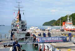 LANGKAWI, Malaysia (Dec. 6, 2011) The guided-missile destroyer USS Curtis Wilbur (DDG 54) is moored next to a Royal Malaysian Navy ship in preparation for the Langkawi International Maritime & Aerospace Exhibition (LIMA) 2011. (U.S. Navy photo by Mass Communication Specialist 2nd Class Jessica Bidwell)