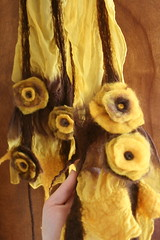 Nuno Felted Scarf - Brown and Gold