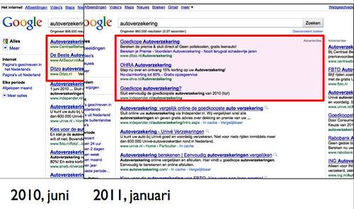 Google.nl serp - januari 2011