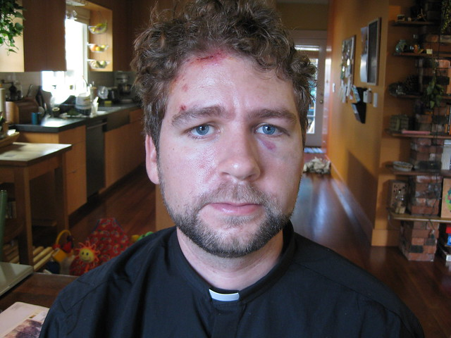 Rev. John Helmiere after meeting Seattle PD.