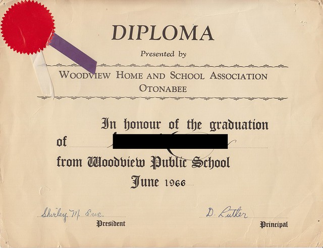Mom's Grade 8 Diploma from Woodview Public School