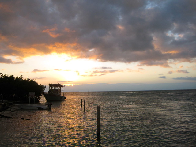 sunset at the split in caye caulker belize
