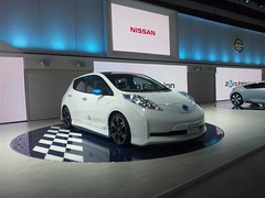 automobile, automotive exterior, vehicle, nissan leaf, automotive design, auto show, electric car, nissan, bumper, land vehicle, electric vehicle, hatchback,
