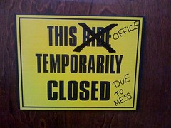 Sign on someone's office door in early 2009