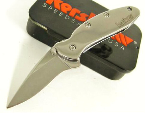 "Kershaw Ken Onion Chive Assisted 1-15/16"" High Polish Blade, High Polish Aluminum Handles"