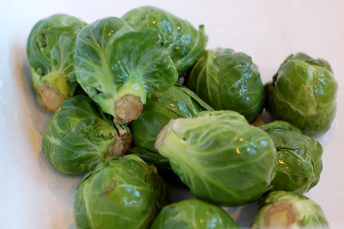 Brussels sprouts in the sink by Eve Fox, Garden of Eating blog, copyright 2011