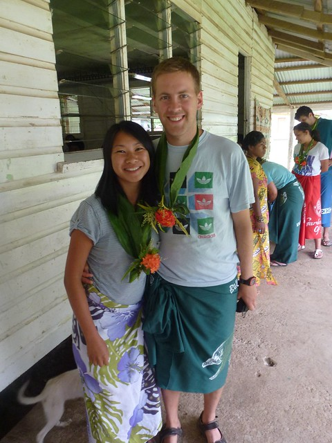 Me and John with our sarongs and flower necklaces