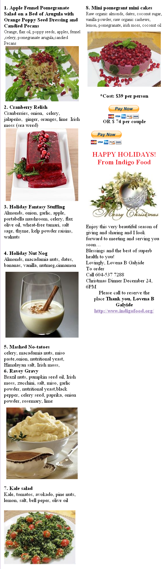 Indigo Christmas Menu 2011 items
