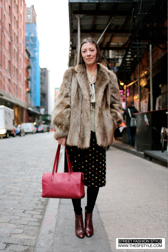 Red Bag Fur Street Fashion Style NYC New York