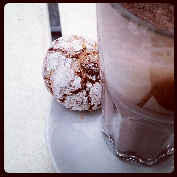 Hot chocolate and almond biscuit = perfect afternoon snack.