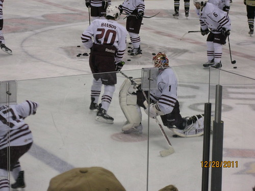 12/28/11: Holtby (1) warming up to sit on the bench