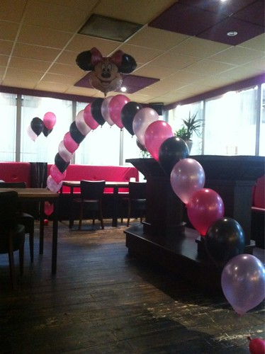 Heliumboog Mini Mouse, Roze, Zwart en Fuchsia