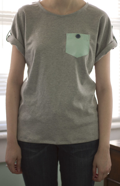 grey and seafoam t-shirt