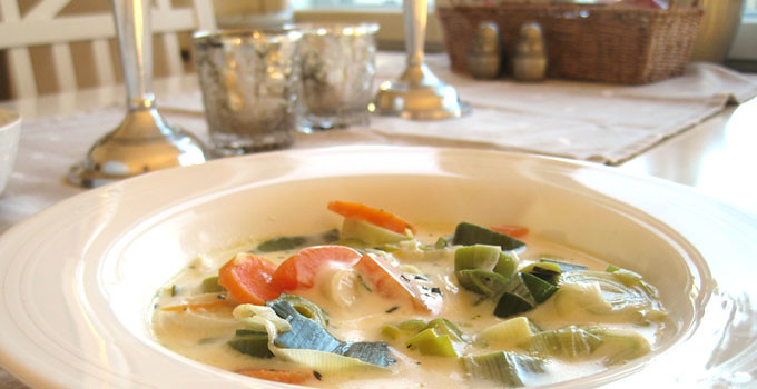 Ugnsgratinerad grönsakssoppa