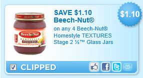 Beech-Nut Homestyle Textures Stage 2  Glass Jars Coupon