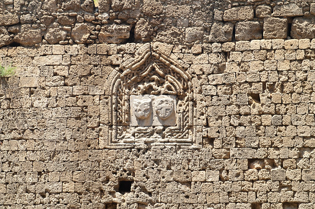 Fragment of fortress wall in Rhodes