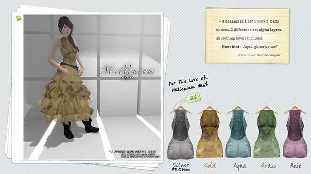 BOUNCE Millenium dress / Multiple options & FTLO Hunt infos !