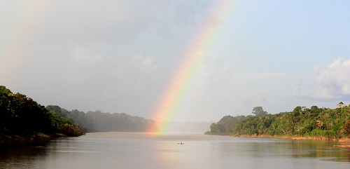 Rainbow over Javari river