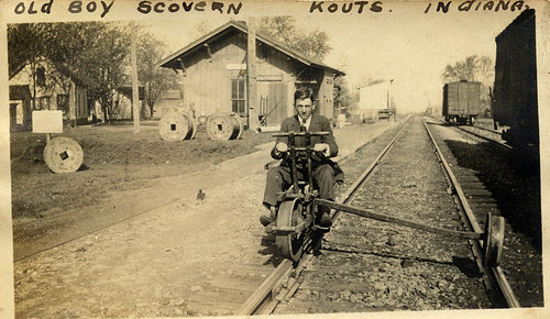 Erie Railroad Depot and Velocipede, circa 1910 - Kouts, Indiana by Shook Photos