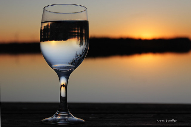 Wine Glass at Sunset