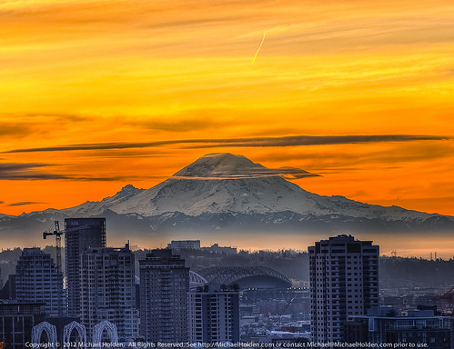 Freezing Frame: Mt. Rainier  and Downtown Seattle at Sunrise