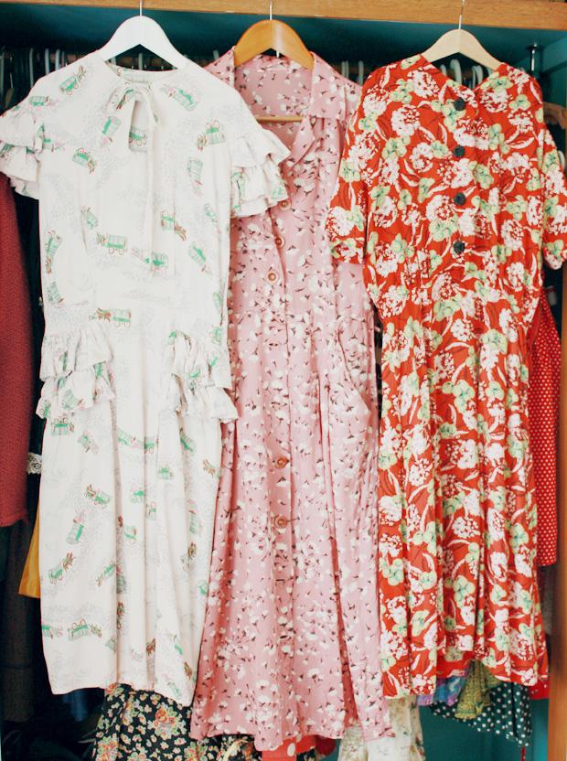 1940s print rayon dresses