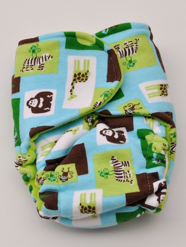 Bumstoppers small snapless  cotton velour Mint Chocolate Zoo MCZ