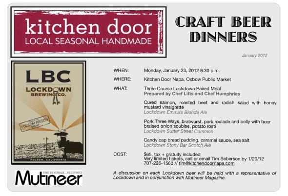 Kitchen Door Craft Beer Dinner