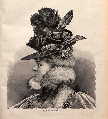 003- Sombrero Gabriela- La Última moda- revista ilustrada hispano-americana, del 31 de enero de 1897-copyright MemoriadeMadrid