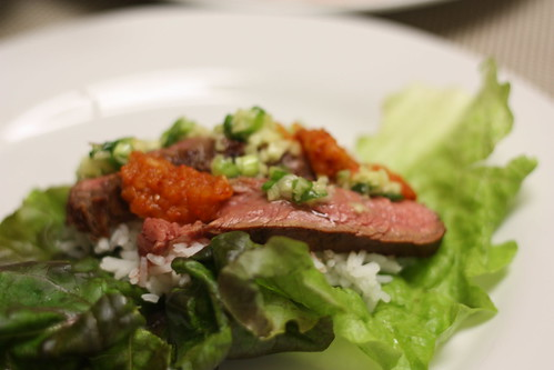 Steak ssam lettuce wrap