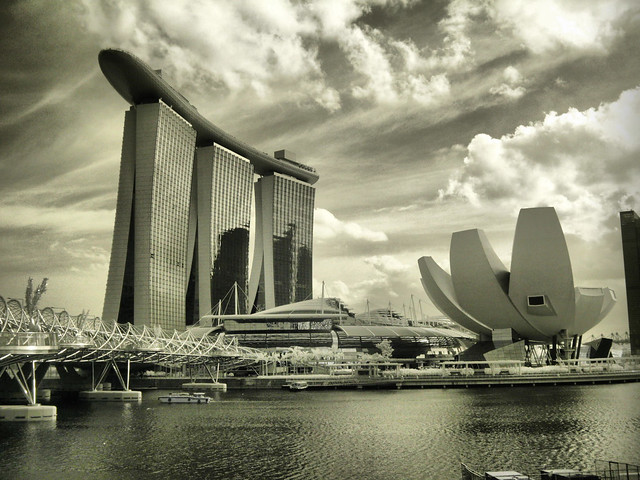 Marina BAY HOTEL SINGAPORE Infrared B&W | Flickr - Photo Sharing!
