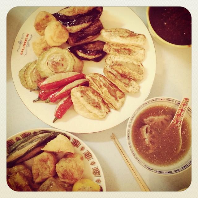 Hakka Chinese yong tau foo stuffed bean curd