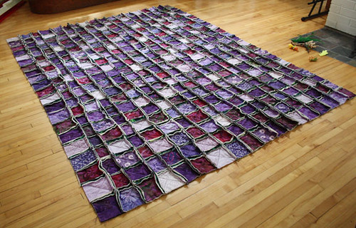 Purple raggy quilt