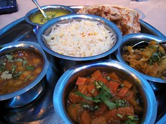 Thali of the day at Shahee Bhelpoori, Norbury, London SW16