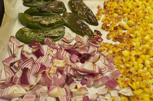 salsa/roasted corn, onions. peppers