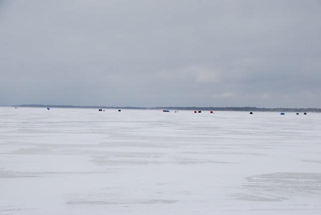 Ice Fishing Shanties On Houghton Lake Michigan During Tip