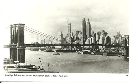NYC Postcard - Brooklyn Bridge and Skyline (Front)