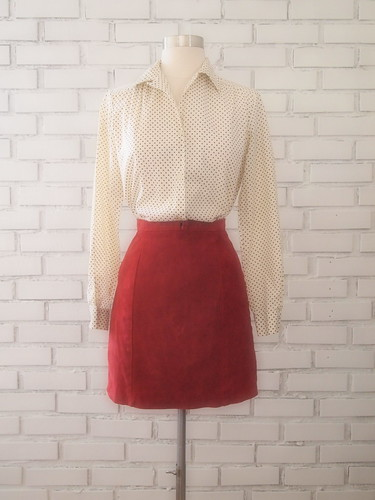 1970s polka dot blouse + high waist suede skirt