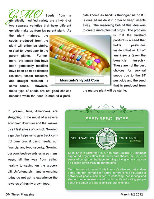 OM Times March 1/2 2012 : SOW What? Survival Seeds to Sow (pg4)