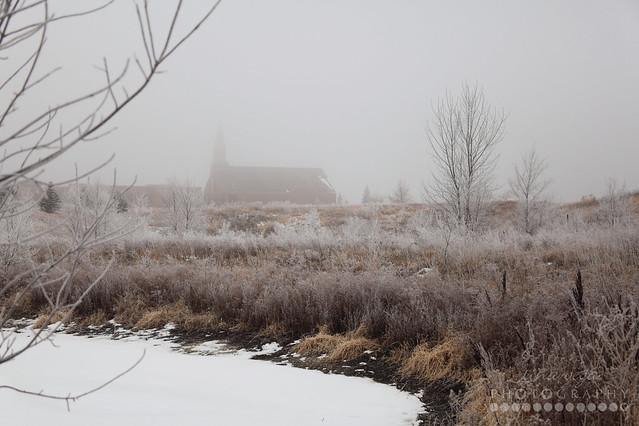 frosty morning church