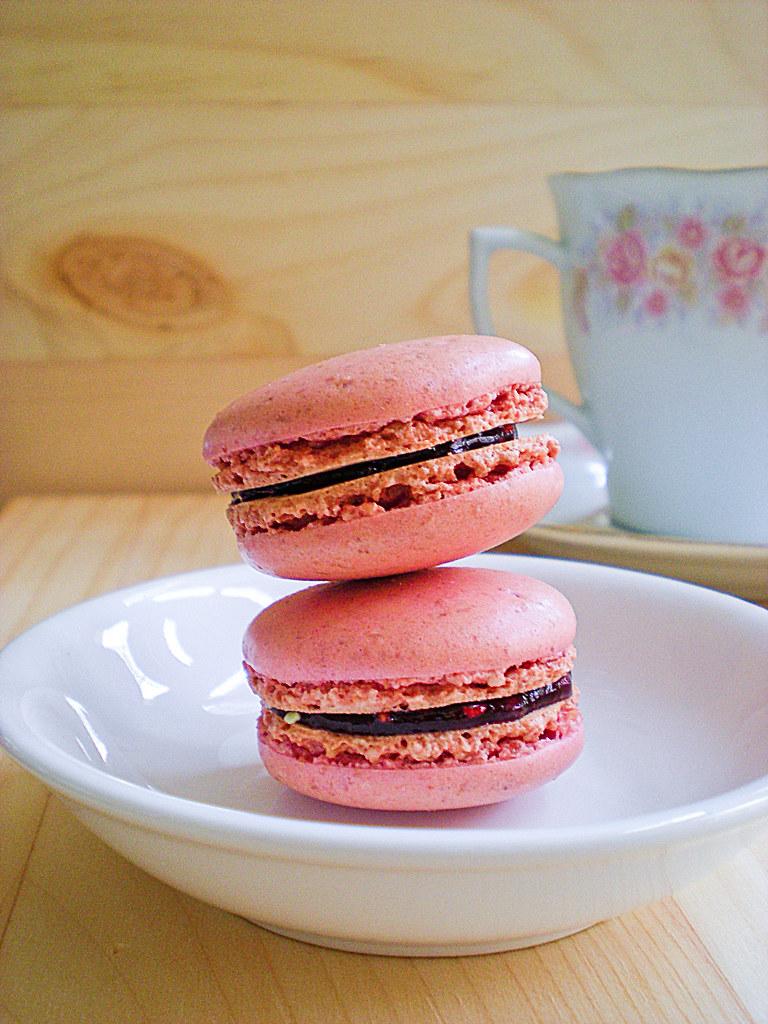 Raspberry Macarons