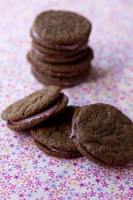 Cherry Chocolate Malt Cookie Sandwiches