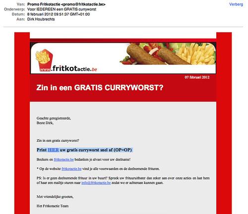 Hmmm, curryworst (moet hij in kleur of zwartwit?)